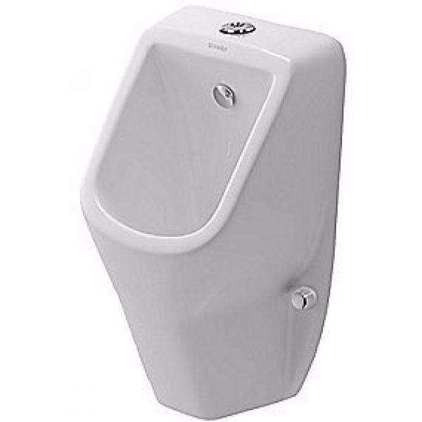 Duravit D-Code urinal med dyse tilslutning fra oven. Åben skyllerand. Hvid