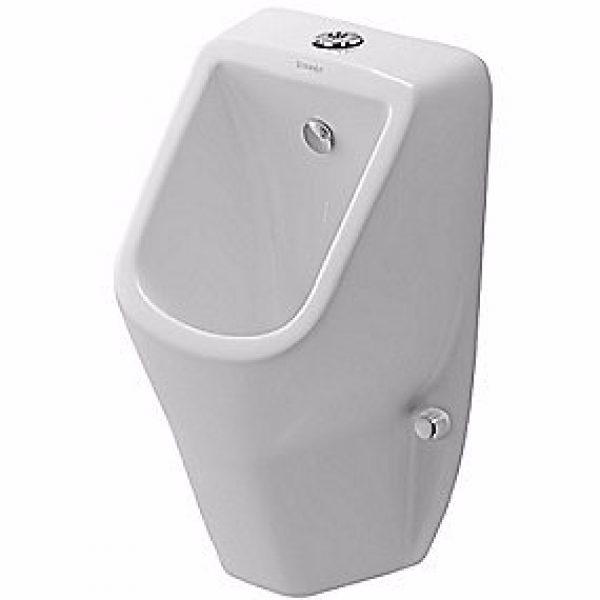 Duravit D-Code urinal med dyse tilslutning fra oven. Med flue. Åben skyllerand. Hvid