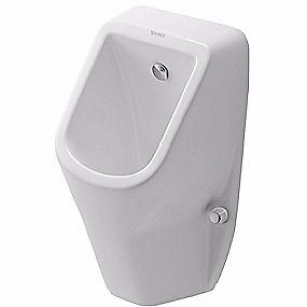 Duravit D-Code urinal vandtilslutning bagfra. Åben skyllerand. Hvid