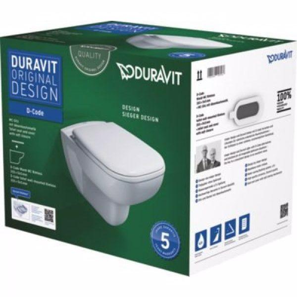 Duravit D-Code vægtoilet 640x460x400mm inkl. toiletsæde m. softclose rimless