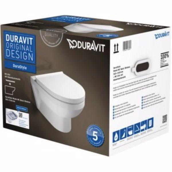 Duravit DuraStyle vægtoilet box med åben skylle-rand og SoftClose sæde
