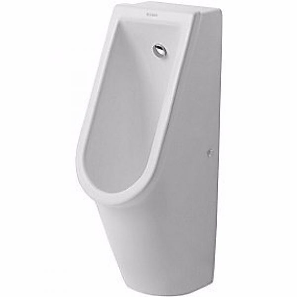 Duravit Starck 3 urinal vandtilslutning bagfra. Wondergliss Hvid. Med flue