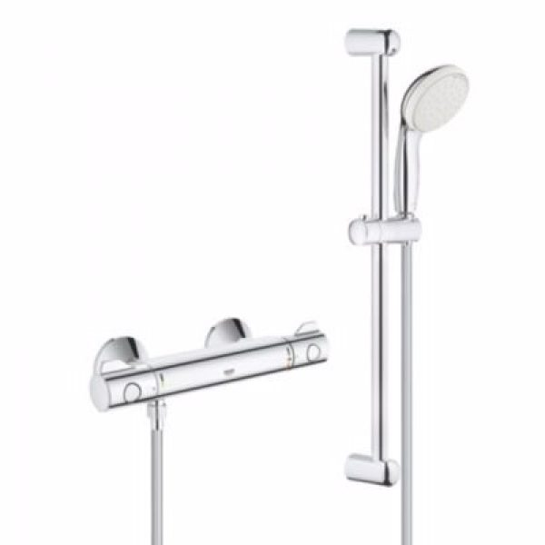 Grohe Grohtherm 800 termostatarmatur med brusesæt 600mm stang. Krom