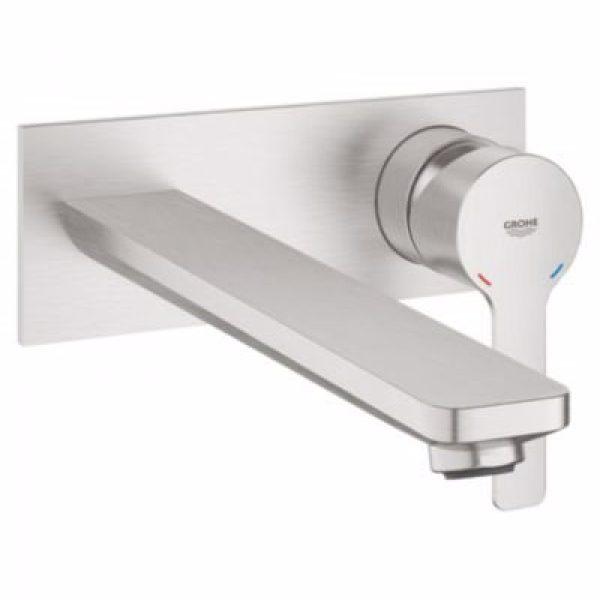 Grohe Lineare 2-huls håndvaskarmatur til væg. Supersteel