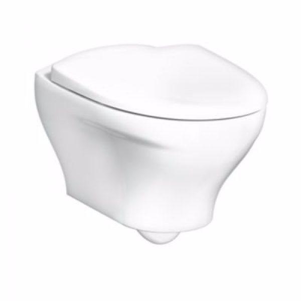 Gustavsberg Estetic hængeskål med soft close sæde. Åben skyllerand. Hvid Ceramic+