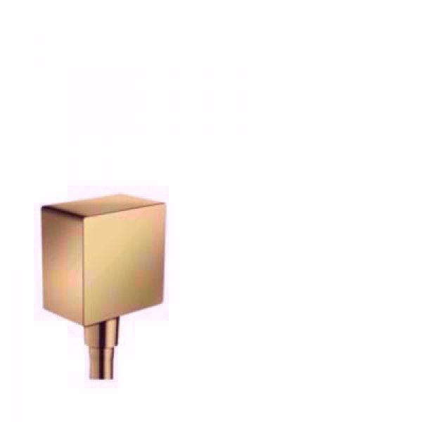 Hansgrohe FixFit Square slangeudtag med kontraventil, Poleret guld-optik