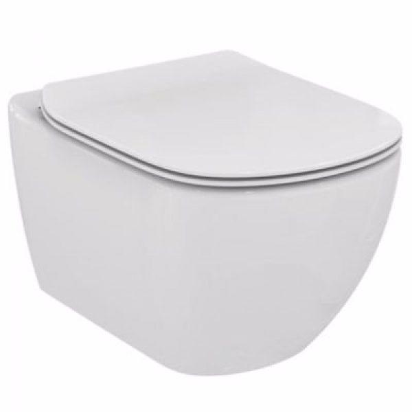 Ideal Standard vægskål rimless Tesi model i Hvid, med Softclose sæde model sandwich