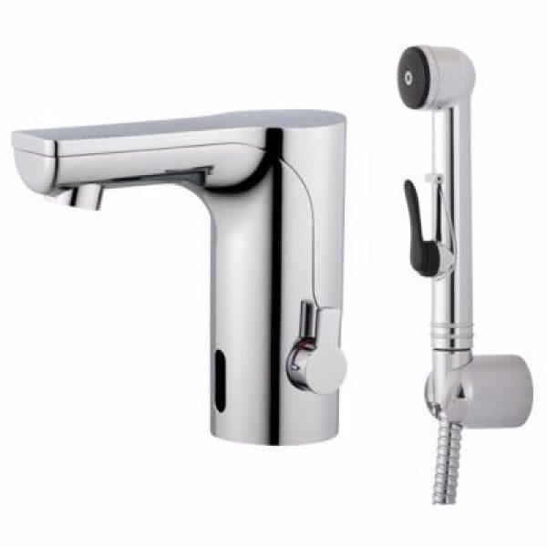 Mora mmix tronic berøringsfrit håndvaskarmatur med selvlukkende håndbruser. Til batteri