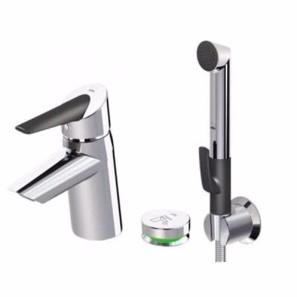 Oras Optima håndvaskarmatur med trykknap bidetta 3v