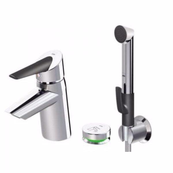 Oras Optima håndvaskarmatur med trykknap og bidetta håndbuser. 3v