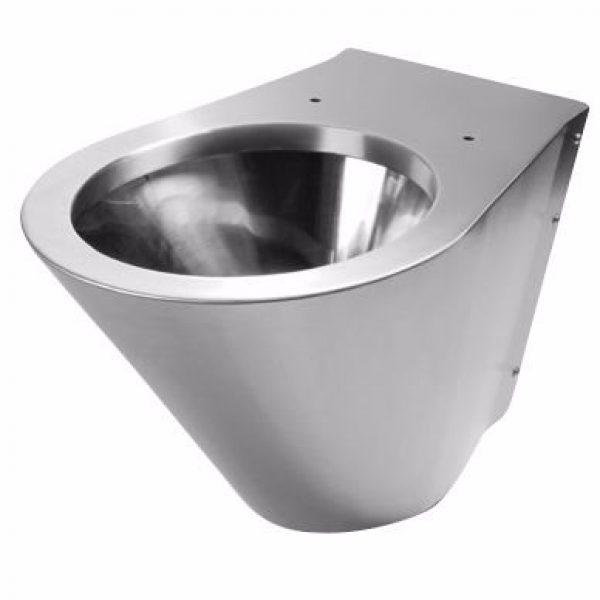 Purus Hænge Toiletskål 338,5x360x700 338,5x360x700mm bagmont børstet/poleret stål uden cistern