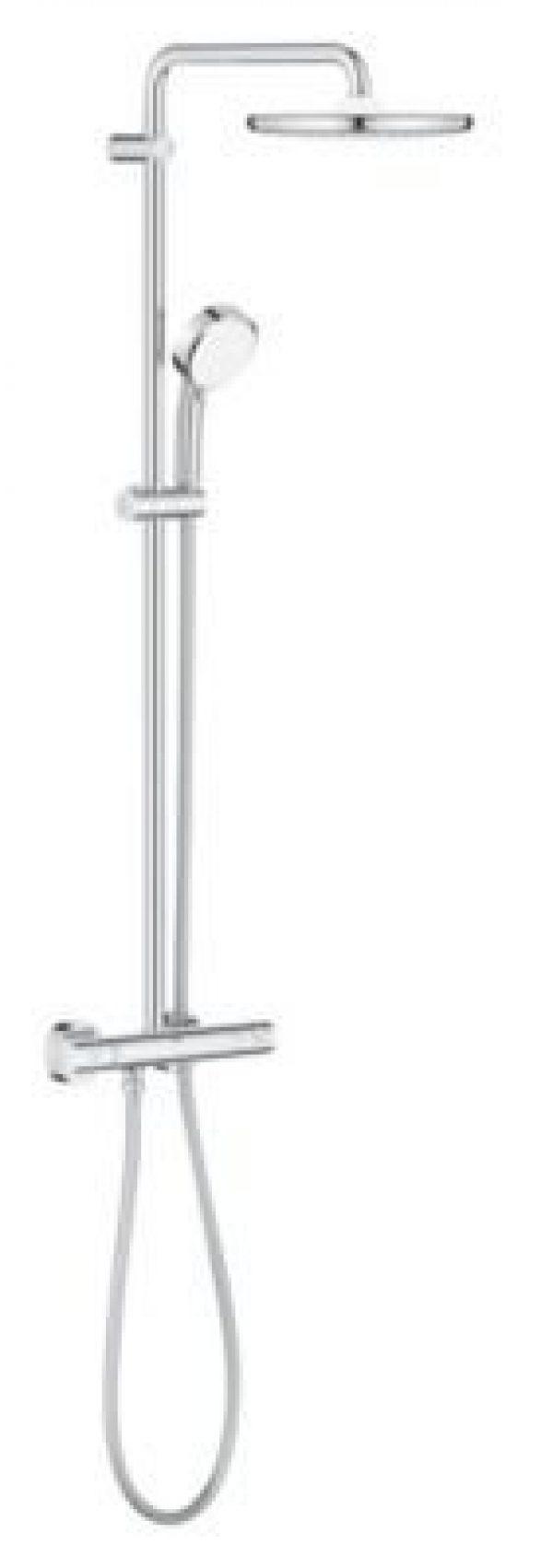 GROHE NTempCosmopolitan 250 brusersystem med termostat til vægmontering.9,5l, krom